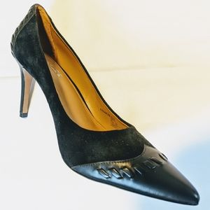 Coach black pointy toed high heels leather trim